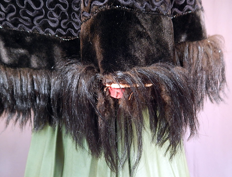 Victorian Black Plush Velvet Jet Beaded Soutache Fur Trim Winter Cloak Cape