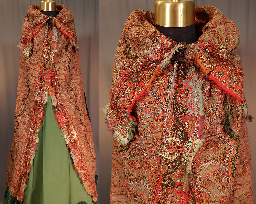 Victorian Antique Wool Signed Kashmir Paisley Shawl Collar Cloak Cape