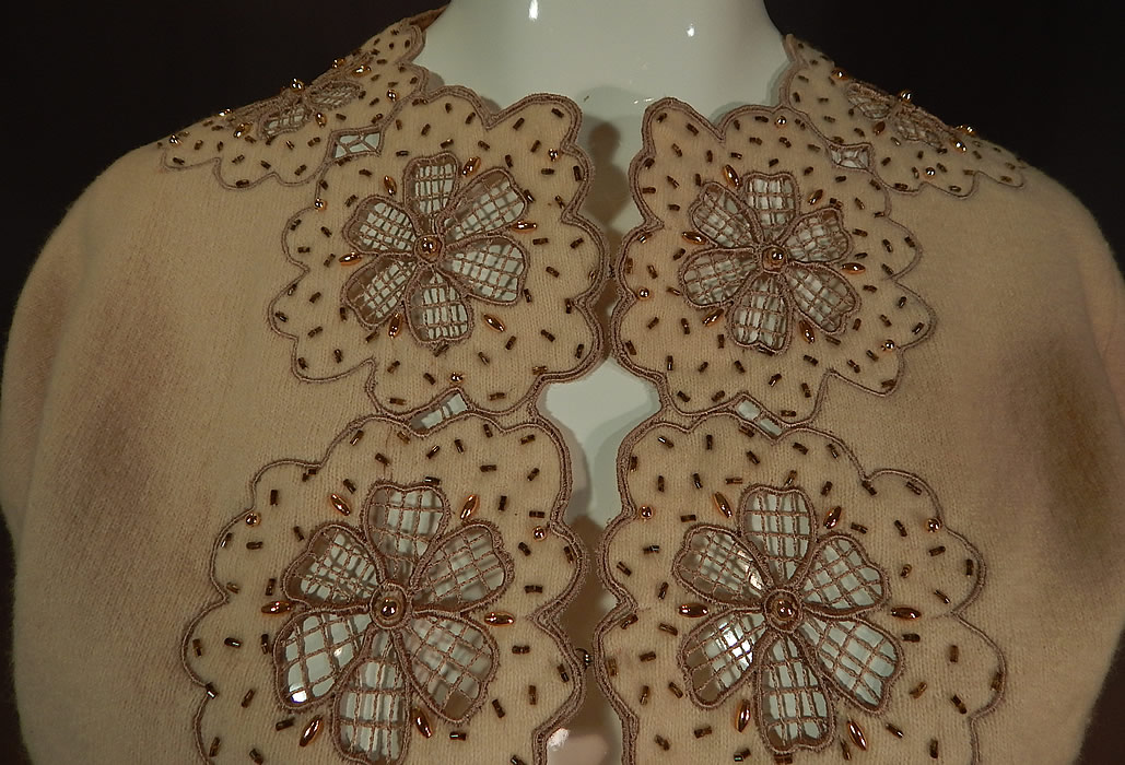 Vintage Vic & Vic Haute Couture Hong Kong Beaded Cutwork Cardigan Sweater