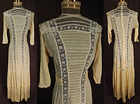 Victorian Vintage Yellow Cream Cotton Batiste White Lace Lawn Dress Tea Gown 9b809a0c7