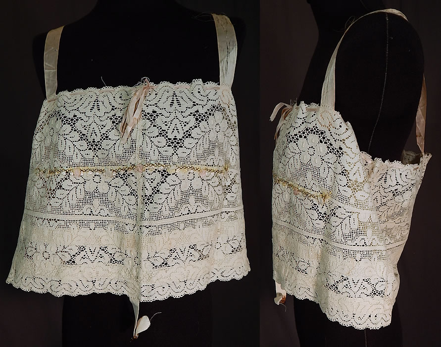 Vintage Bien Jolie Brassiere White Filet Lace Rosette Camisole Bra Bandeau Top
