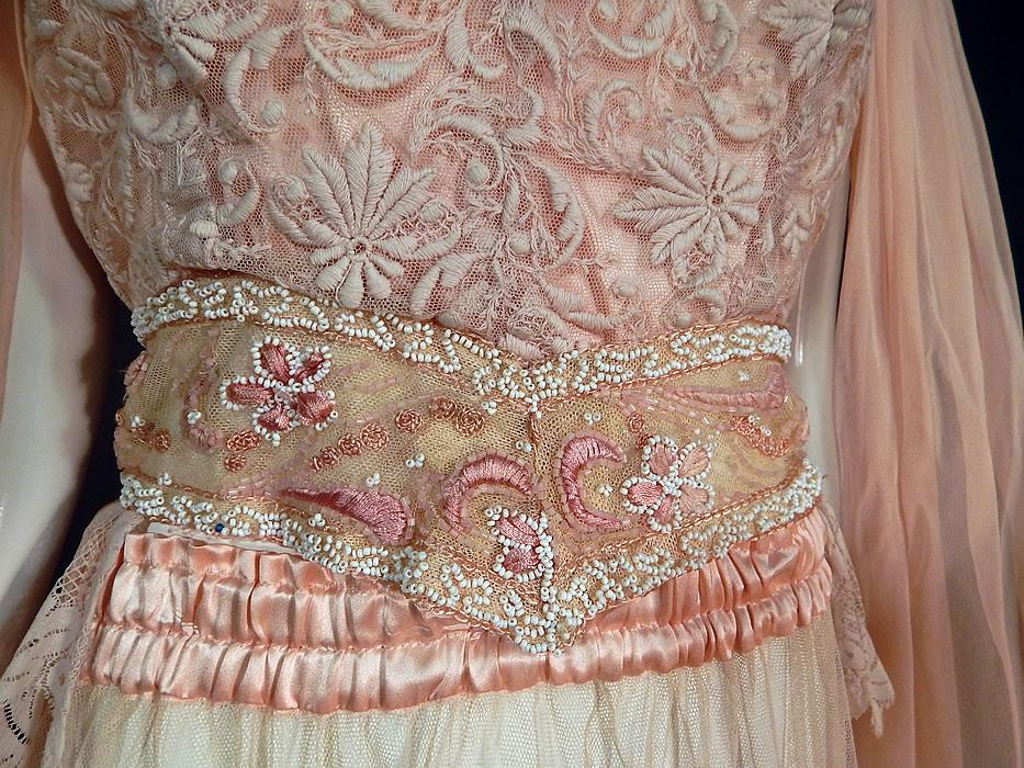 Vintage Pink Net Tambour Embroidery Lace Dress Kimono