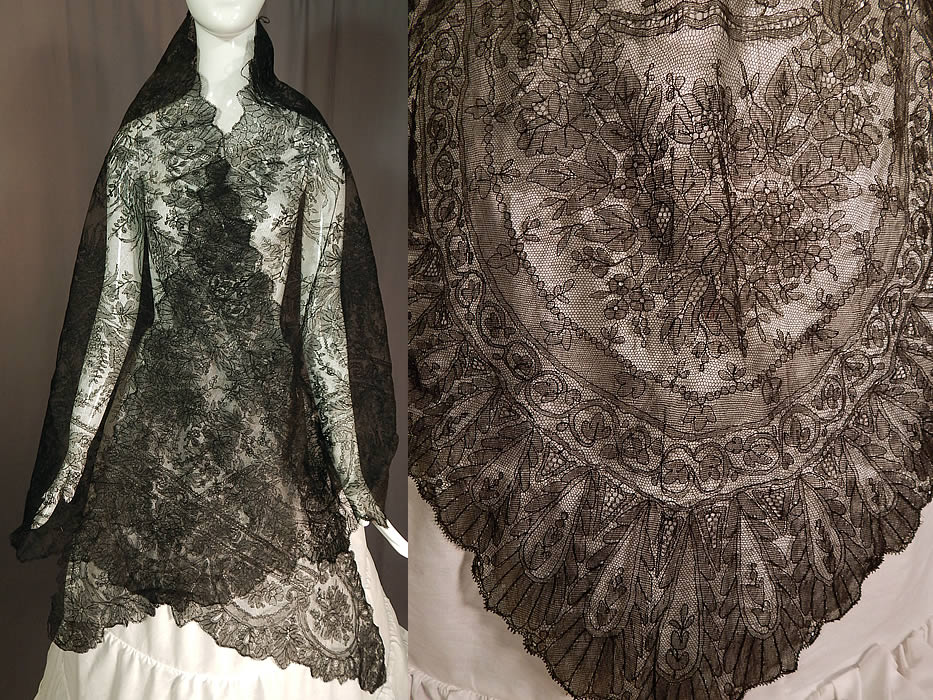 Victorian Civil War Era Antique Black Chantilly Lace ...