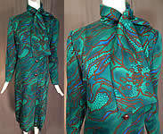 Vintage Pauline Trigere Green Abstract Stained Glass Floral Print Neck Scarf Dress
