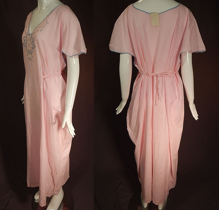 Vintage Peer Nities Hand Made Porto Rico Pink Linen Embroidered Nightgown NWT