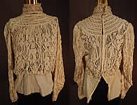 Edwardian Vintage Antique Cream Cluny Bobbin Lace Peplum Blouse Shirt Top