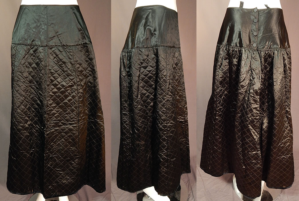 Victorian Vintage Antique Black Silk Quilted Wool Winter Petticoat Skirt
