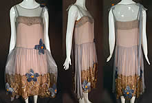 Vintage Barbara Lee Blue Chiffon Pink Slip Gold Lamé Lace Floral Flapper Dress
