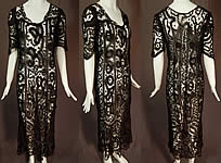 Edwardian Antique Handmade Sheer Black Battenburg Bobbin Tape Lace Dress