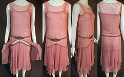 Vintage Art Deco Pink Chiffon Rhinestone Belted Trim Handkerchief Hem Flapper Dress