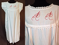 Victorian White Cotton Red Embroidered AA Chemise Nightgown Smock Shift Dress