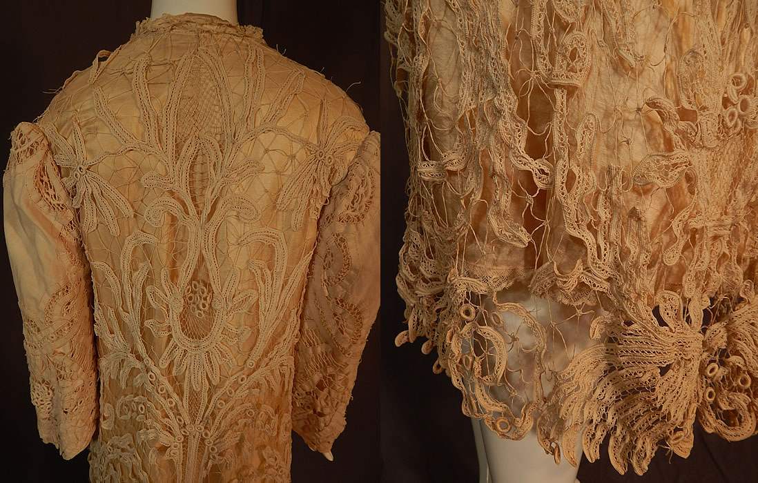 Edwardian Antique Cream Silk Lined Battenburg Tape Lace Long Coat Jacket