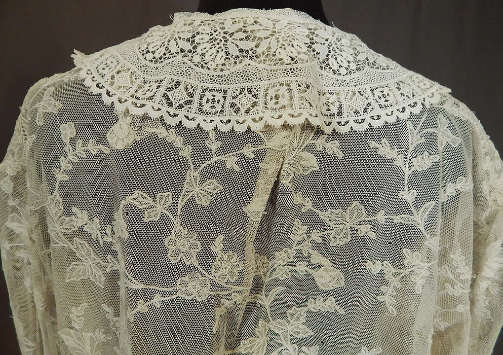 Vintage Antique White Net Cutwork Tambour Embroidery Lace Collar Coat Jacket