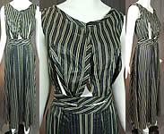Victorian Blue & Black Striped Print Cotton Chintz Calico Dress Blouse Skirt