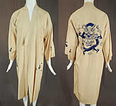 Vintage Antique Chinese Dragon Blue Embroidered Pongee Raw Silk Kimono Robe