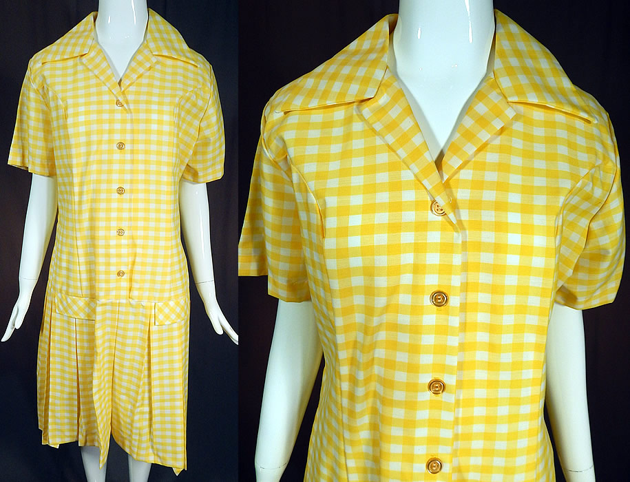Vintage Country Bird Yellow & White Cotton Check Gingham Dress NWT Size 20