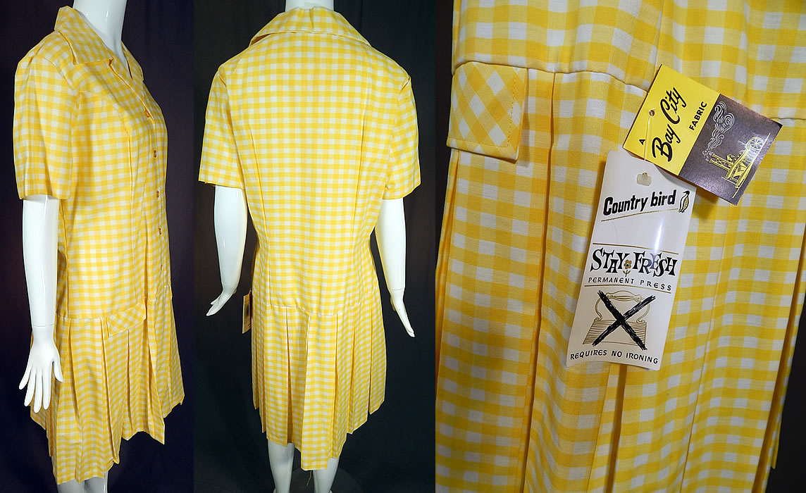 Vintage Country Bird Yellow & White Cotton Check Gingham Dress NWT
