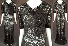 Edwardian Antique Black Battenburg Tape Lace Amber Beaded Gown Dress