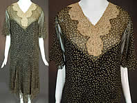 Vintage Black & Cream Leaf Print Silk Chiffon Lace Collar Drop Waist Dress