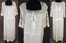 Vintage Embroidered French Knot White Net Crochet Filet Lace Tabard Top Dress