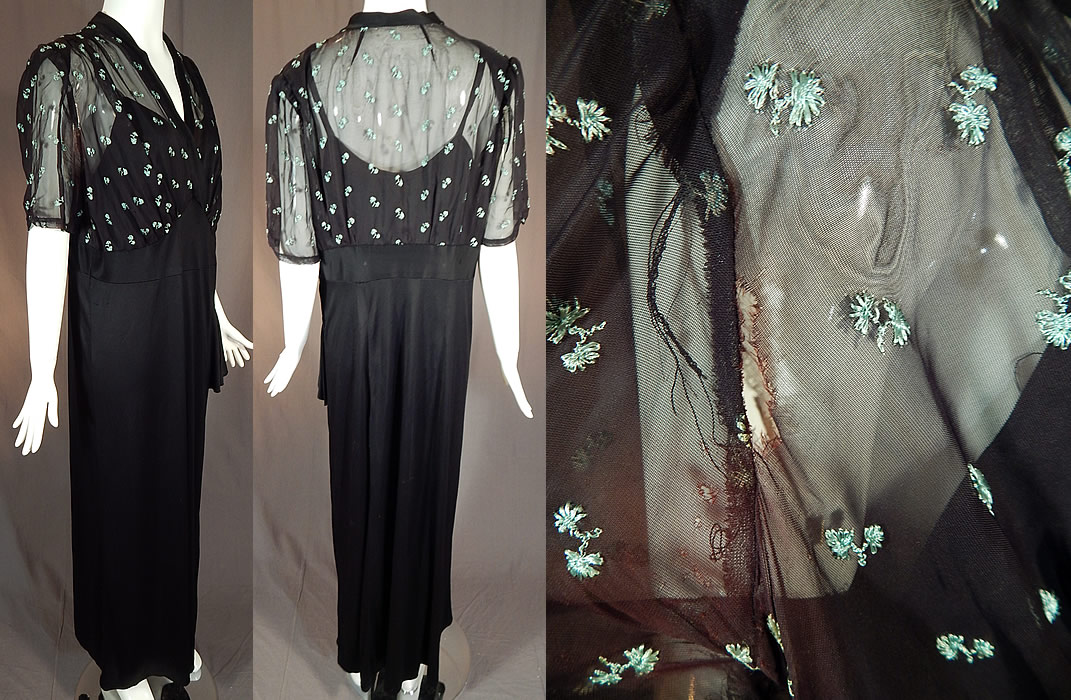 Vintage Blue Embroidered Flowers Black Silk Jersey Maxi Evening Gown Dress