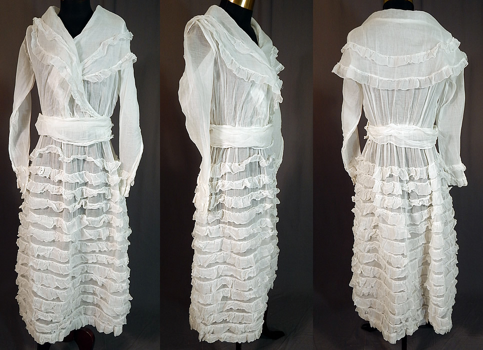 Vintage Edwardian White Cotton Organdy Ruffled Fichu Belted Dress Tea Gown
