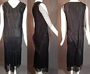 Vintage Black Silk Cobweb Lace Beaded Bias Cut Asymmetrical Evening Gown Dress