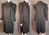 Vintage Victorian Black Wool Velvet Soutache Trim Womens Winter Frock Coat