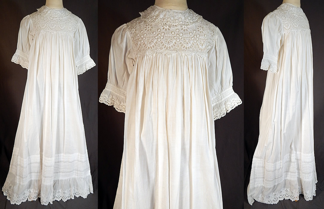 Victorian Broderie Anglaise Eyelet Cotton Batiste Baptism Christening Gown  Dress This antique Victorian era broderie anglaise 32a207c4f