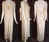 Vintage White Silk Crepe Crystal Rhinestone Beaded Grecian Evening Gown Dress