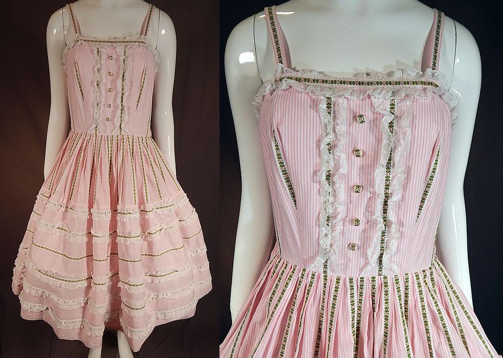 Vintage Pink Amp White Striped Cotton Lace Ribbon Trim