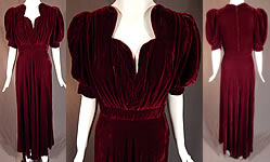 Vintage Burgundy Red Velvet Button Back Sweetheart Neck Evening Gown Dress