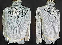 Vintage Victorian White Battenburg Tape Lace Crochet Trim Bodice Blouse Top