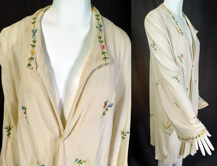 Vintage Slender Knit Sportswear NY Floral Embroidered Cardigan Sweater