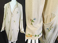 Vintage Slender Knit Sportswear NY 1920s Floral Embroidered Cardigan Sweater