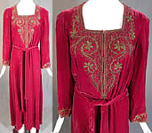 Vintage Bonwit Teller NY Burgundy Red Velvet Gold Soutache Trim Gown Dress