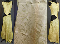 Victorian Yellow Silk Damask Floral Wheat Brocade Ball Gown Corset Bodice Fabric