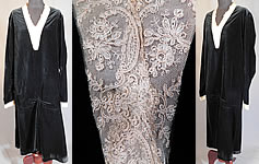 Vintage Black Velvet Cream Tambour Embroidery Lace Collar Cuffs Drop Waist Dress