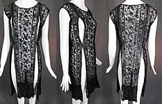 Vintage Black Net Tambour Embroidery Lace Tabard High Slit Chemise Shift Dress