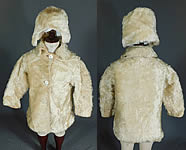 Vintage Victorian Childrens Curly White Mohair Fur Winter Coat & Cap Hat
