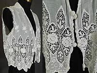 Edwardian Embroidered White Cotton Batiste Lace Sleeveless Vest Jacket  Blouse 014c82e6d