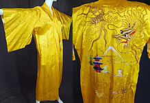 Vintage WWII Japanese Gold Couching Embroidery Dragon Yellow Kimono Robe