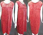 Vintage 1920s Art Deco Pink Velvet Black Beaded Flapper Sleeveless Shift Dress