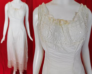 Victorian White Cotton Eyelet Cutwork Broderie Anglaise Lace Full Slip Dress