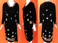 Vintage Black Velvet Pastel Chain Stitch Embroidered Flowers Drop Waist Dress
