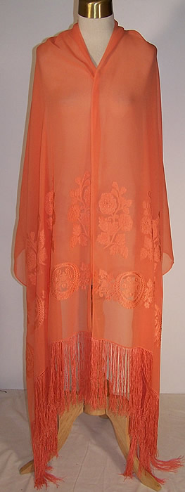 Orange Silk Chiffon Appliqué Shawl   Front view.