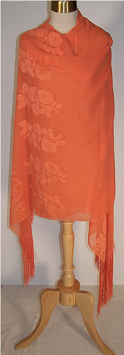 Orange Silk Chiffon Appliqué Shawl  Back View.