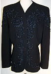 Gabardine Blue Beaded Suit Jacket c1940