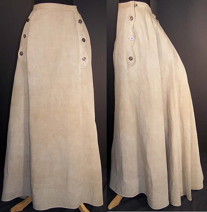 Edwardian Ecru Linen Ladies Walking Suit Skirt   Front view.