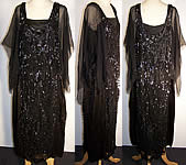 Art Deco Black Beaded Sequin Flapper Dress c1920